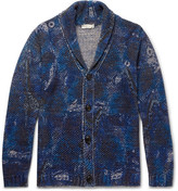 Etro Shawl-collar Printed Cotton And Linen-blend Cardigan - Blue