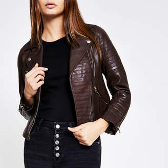 River Island Womens Dark Purple leather biker jacket