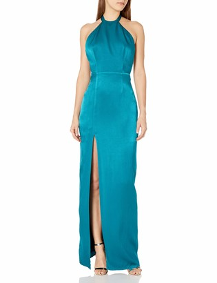 ABS by Allen Schwartz Women's Halter Gown with Exposed Back in Rayon Satin