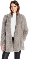 Kenneth Cole New York Women's Front Drape Teddy Coat with Pockets
