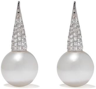 Yoko London 18kt white gold Mayfair South Sea pearl and pave diamond drop earrings