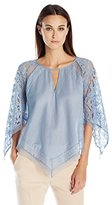 BCBGMAXAZRIA Women's Elyza Lace Blocked Top