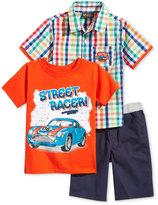 Nannette 3-Pc. Graphic-Print T-Shirt, Shirt & Shorts Set, Toddler & Little Boys (2T-7)