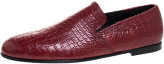 Dolce & Gabbana Red Crocodile Leather Smoking Slippers Size 44