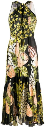 Temperley London Butterfly-Print Bow-Front Halterneck Dress