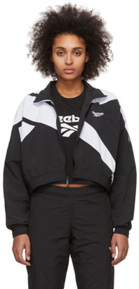 Vector Reebok Classics Black and White Cropped Track Jacket