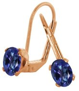 Gem Stone King 1.90 Ct Oval Purple Blue Mystic Topaz Gold Plated 4-prong Leverback Earrings