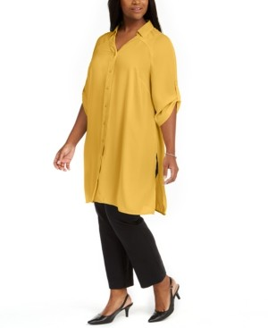 Alfani Plus Size Roll-Tab Tunic Shirt, Created for Macy's