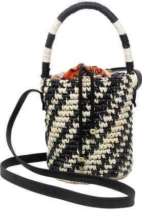 Sensi Mini Two Tone Straw Bucket Bag