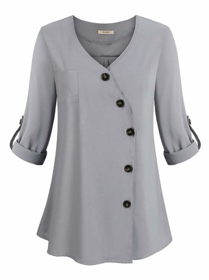 Private Label Women's V Neck Button Down Shirt with Cuffed Long Sleeve Tunic Chiffon Blouses Tops Grey Large