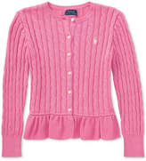 Polo Ralph Lauren Ralph Lauren Cable-Knit Cotton Cardigan, Big Girls