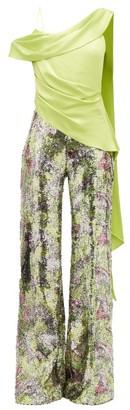 Halpern Draped-bodice Sequinned Jumpsuit - Womens - Green