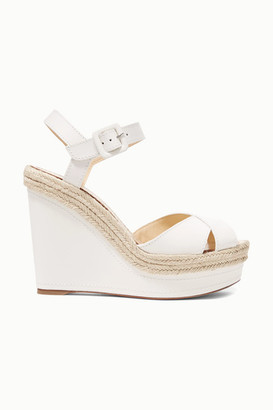 Christian Louboutin Almeria 120 Leather Espadrille Wedge Sandals - White