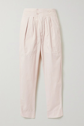 Etoile Isabel Marant Mariz Pleated Cotton Tapered Pants - Pastel pink