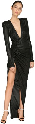 Alexandre Vauthier Draped Rib Jersey Lame Long Dress