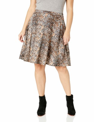 Star Vixen Women's Plus-Size Full Knee-Length Ponte Knit Skater Skirt