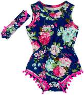Anbaby Gilrs Broken Flower Romper Climbing Clothes With A Headband