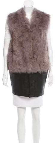 Ramy Brook Fox Fur Leather Vest