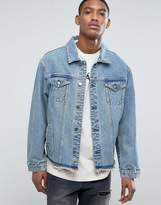 Asos Oversized Denim Jacket With Deconstructed Hem In Mid Wash