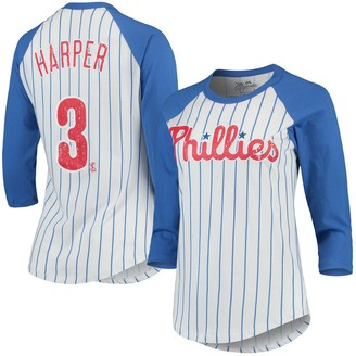 Majestic Women's Threads Bryce Harper White/Royal Philadelphia Phillies Softhand Cotton Pinstripe 3/4-Sleeve Raglan Player Name & Number T-Shirt