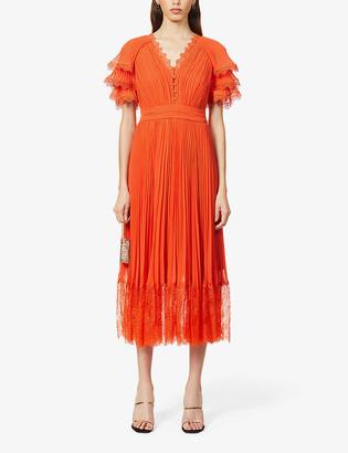 Self-Portrait Lace-trim chiffon midi dress