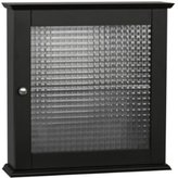 Elegant Home Fashions Chesterfield Collection Medicine Cabinet with Waffle Pattern Glass Door, Espresso