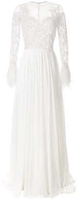 Saiid Kobeisy Feathered Evening Dress
