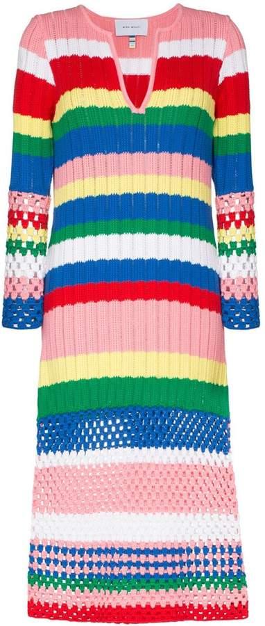 Mira Mikati striped knitted-cotton dress