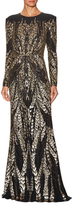 Jenny Packham Leaf Graphic Embellished Gown