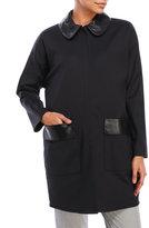 Hache Leather Detail Coat