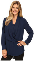 Vince Camuto Long Sleeve Wrap-Front Tunic