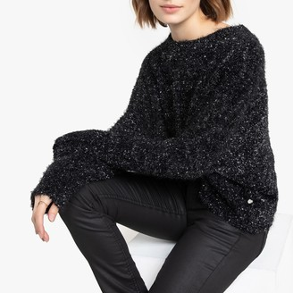 Freeman T. Porter Metallic Fluffy Knit Jumper in Fine Knit with Crew Neck