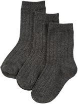 Jefferies Socks Ribbed Crew 3 Pack (Toddler/Kid) - Charcoal-12-6