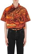 Balenciaga Men's Dragon-Print Cotton Oversized Shirt