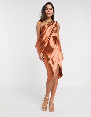 ASOS DESIGN one shoulder drape detail midi dress