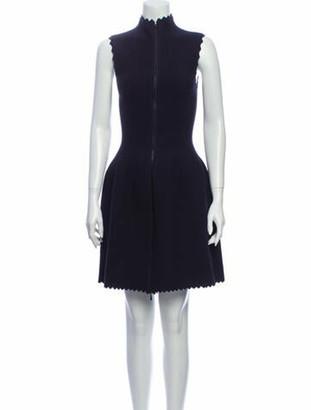 Alaia Mock Neck Mini Dress Blue