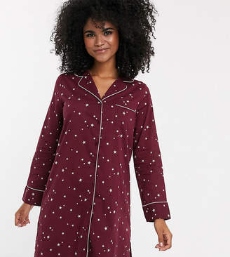 Mama Licious Mama.Licious Mamalicious nursing night gown in burgundy star print-Purple