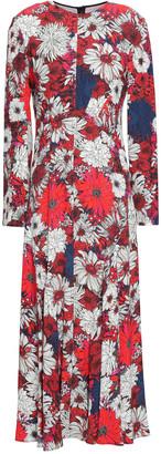 Cédric Charlier Fluted Floral-print Crepe De Chine Midi Dress