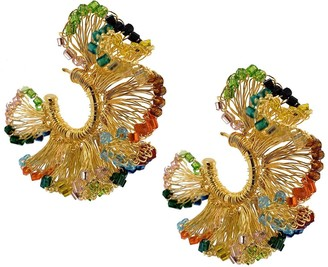 Lavish By Tricia Milaneze Multicolored Small Hand Crochet Ruffled Hoops