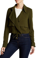 Haute Hippie Cropped Ruffle Detail Trench Jacket