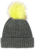 Tip fur pom beanie hat