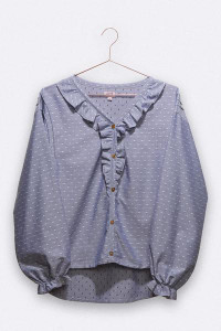 LOVE kidswear - Nike Blouse in Blue Cotton with White Polka Dots for Women - XS/S