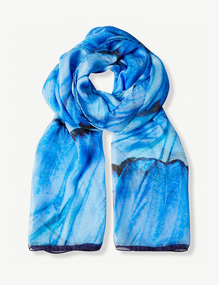 Selfridges Blue Morpho silk scarf