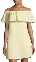 Matty M Off-the-Shoulder Linen-Blend Dress