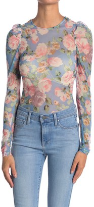 Know One Cares Puff Sleeve Floral Print Mesh Top