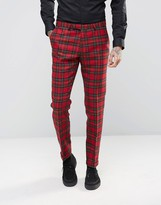 Noose & Monkey Woven In England 100% Wool Tartan Trousers In Skinny Fit With Turn Up