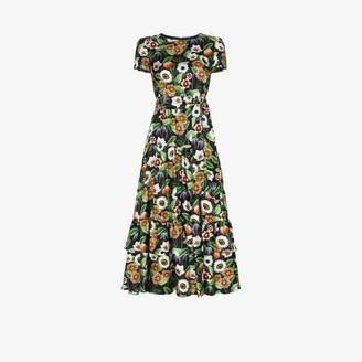 Borgo de Nor Elisa floral print silk midi dress
