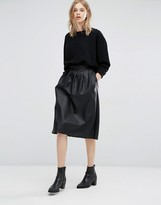 Dr. Denim Leather Look Midi Skirt