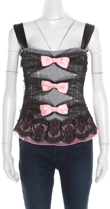 Dolce & Gabbana Black Dotted Tulle and Lace Bow Detail Corset Top M