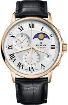 Edox Men's Les Bemonts 42mm Black Leather Band Swiss Quartz Watch 01651 37j Ar